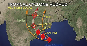 Cyclone Hudhud races towards AP