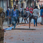 Pelting stones on security forces in Kashmir