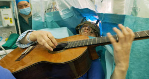 Brain surgery while Patient playing guitar